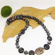 Украшения handmade. Livemaster - original item Beads Crossroads (chiastolite, augite, larvikite) 41 cm. Handmade.