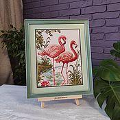 handmade. Livemaster - original item Pictures: Cross stitch a Pair of Flamingo Picture. Handmade.