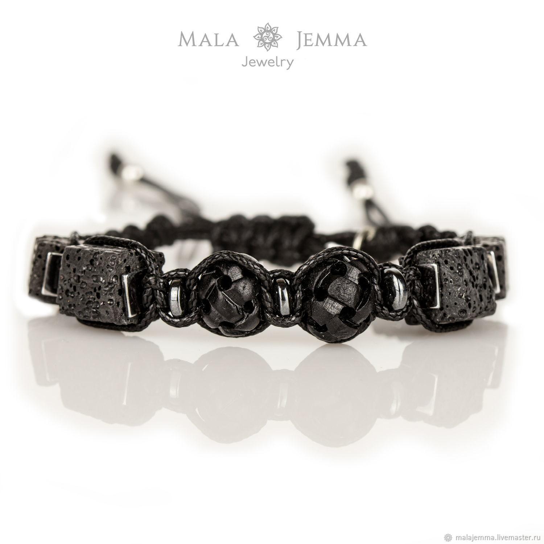 braided friendship bracelet bracelet braided onyx volcanic lava, Braided bracelet, Magnitogorsk,  Фото №1