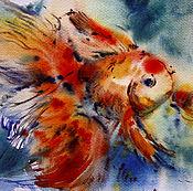 Картины и панно ручной работы. Ярмарка Мастеров - ручная работа акварель Золотая рыбка. Handmade.