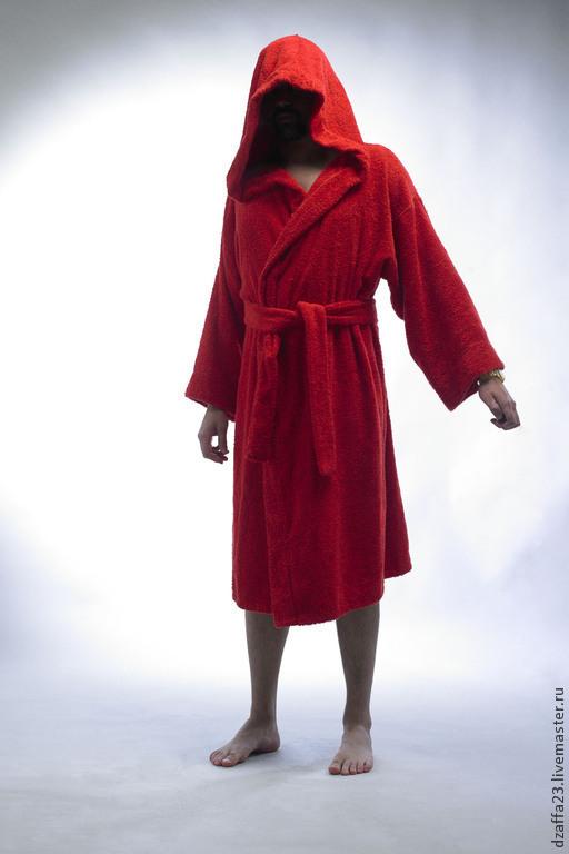 Для мужчин, ручной работы. Ярмарка Мастеров - ручная работа. Купить халат домашний махровый. Handmade. Ярко-красный