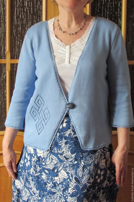 Кофты и свитера ручной работы. Ярмарка Мастеров - ручная работа. Купить голубой ажурный кардиган. Handmade. Голубой, ажурный узор
