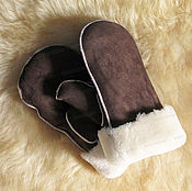 Аксессуары handmade. Livemaster - original item Mittens of 100% sheepskin, brown. Handmade.