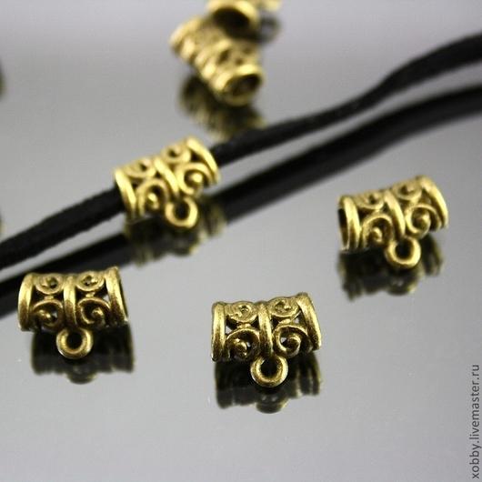 Ажурные бусины бейлы для подвесок под круглый шнур до 3 мм диаметром или ленточку или металлический чокер шириной до 3 мм\r\nЦвет бейлов античная бронза\r\nМатериал сплав с покрытием под бронзу