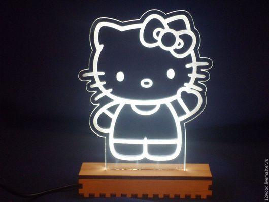 """Освещение ручной работы. Ярмарка Мастеров - ручная работа. Купить Светильник/ночник """"Hello Kitty"""". Handmade. Белый, для детей, кошка, подарок"""