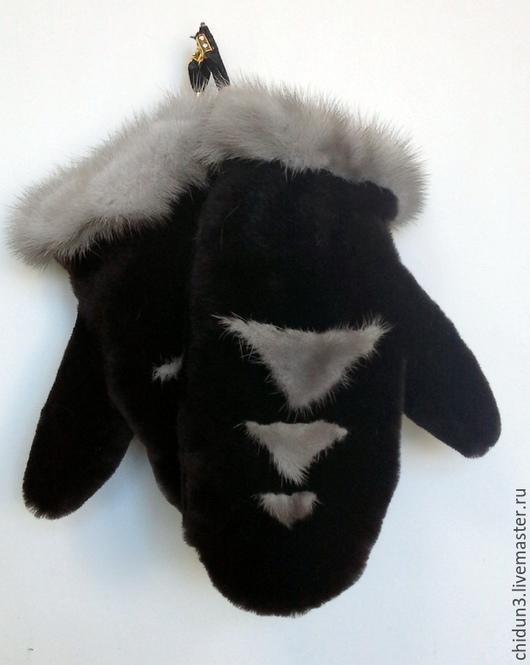 Варежки, митенки, перчатки ручной работы. Ярмарка Мастеров - ручная работа. Купить Варежки из натурального меха. Handmade. Черный