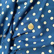 Материалы для творчества ручной работы. Ярмарка Мастеров - ручная работа Штапель Белые горохи на Синем. Handmade.