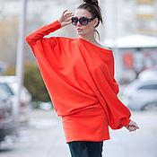 Одежда ручной работы. Ярмарка Мастеров - ручная работа Оранжевая туника, Туника платье, Туника свободного кроя. Handmade.