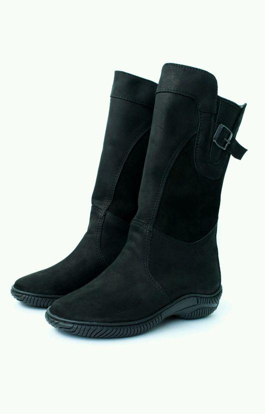 Обувь ручной работы. Ярмарка Мастеров - ручная работа. Купить Сапоги женские подошва ТЭП .(чёрные монголки). Handmade. Черный
