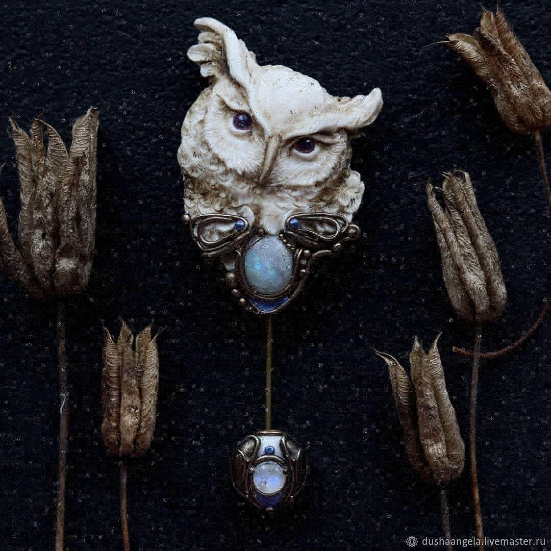 brooches: ' Sententia owl' owl, art Nouveau, Brooches, Vladimir,  Фото №1