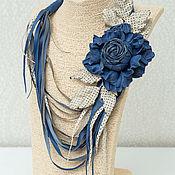 Украшения handmade. Livemaster - original item Necklace and brooch leather2 in one-Denim season. Handmade.