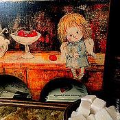 """Для дома и интерьера ручной работы. Ярмарка Мастеров - ручная работа Чайный домик , короб для чайных пакетиков """" А это я здесь живу..."""". Handmade."""
