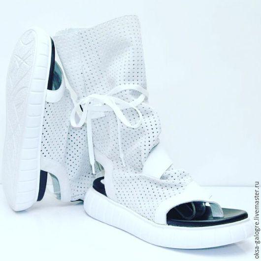 Обувь ручной работы. Ярмарка Мастеров - ручная работа. Купить Высокие сандалии. Handmade. Чёрно-белый, спортивный стиль