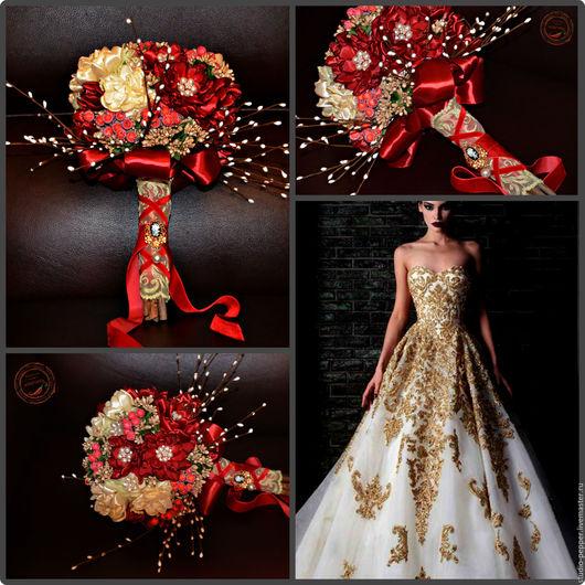 """Свадебные цветы ручной работы. Ярмарка Мастеров - ручная работа. Купить Свадебный букет Невесты """"Богема"""" (красный). Handmade. Комбинированный"""