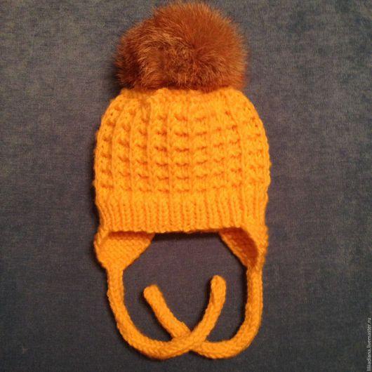 Для новорожденных, ручной работы. Ярмарка Мастеров - ручная работа. Купить Детская вязаная шапочка. Handmade. Желтый, пряжа детская