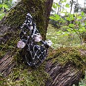 """Кольцо """"FOREST GODDESS"""" с натуральным лабрадором и горным хрусталём"""