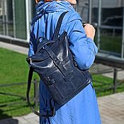 Сумки и аксессуары handmade. Livemaster - original item Backpacks: Women`s leather Blue Alto Mod backpack bag.SR56-661. Handmade.