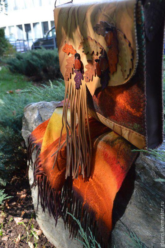 """Женские сумки ручной работы. Ярмарка Мастеров - ручная работа. Купить Сумка и шарф """"Золотая осень"""". Handmade. Разноцветный, лес"""