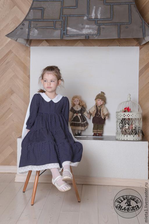 Одежда для девочек, ручной работы. Ярмарка Мастеров - ручная работа. Купить платье для девочки Горошек. Handmade. Тёмно-синий