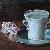 """Картины и панно ручной работы. Ярмарка Мастеров - ручная работа Натюрморт """"Чашка воды и роза"""" Холст, масло. Handmade."""