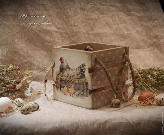 Короб `Цып,цып,цып, мои цыплятки` для пасхальных яиц, сладостей,..Ручная работа.Автор Юдина Оксана