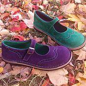 Обувь ручной работы. Ярмарка Мастеров - ручная работа Туфли из нубука разноцветные Фиолетово-изумрудные. Handmade.