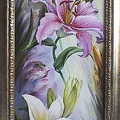 """Картины и панно ручной работы. Ярмарка Мастеров - ручная работа """"Три грации.Лилии"""". Handmade."""