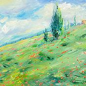 handmade. Livemaster - original item Oil painting on canvas Poppy field. Landscape with poppies.. Handmade.