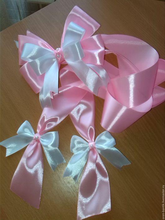 Для новорожденных, ручной работы. Ярмарка Мастеров - ручная работа. Купить Бант на выписку для девочки. Handmade. Комбинированный, бело-розовый
