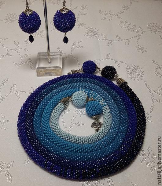 """Комплекты украшений ручной работы. Ярмарка Мастеров - ручная работа. Купить Лариат """"Чёрное море"""". Handmade. Синий, подарок женщине"""