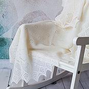 Для дома и интерьера ручной работы. Ярмарка Мастеров - ручная работа Плед детский вязаный, ручная работа, 100% мериносовая шерсть. Handmade.