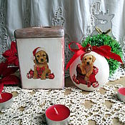 Подарки к праздникам handmade. Livemaster - original item Cute Santa Box-candle holder and a medallion. Handmade.