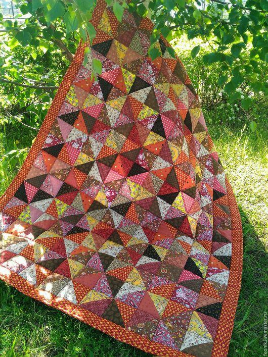 """Текстиль, ковры ручной работы. Ярмарка Мастеров - ручная работа. Купить Русское лоскутное одеяло """"Красная охра"""" пэчворк. Handmade."""