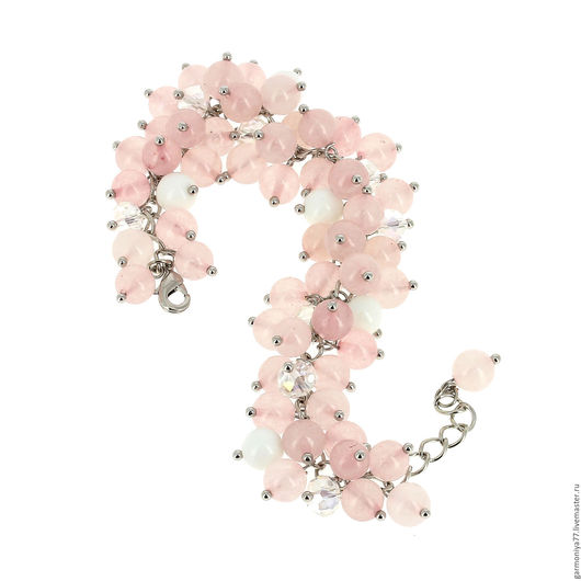 Браслет на цепочке из розового кварца