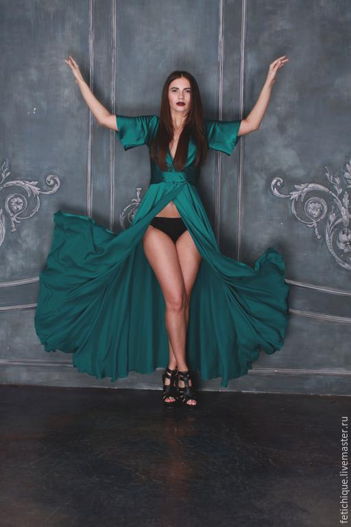 Халаты ручной работы. Ярмарка Мастеров - ручная работа. Купить платье из натурального шелка Roberto Cavalli, кружево Шантильи. Handmade.
