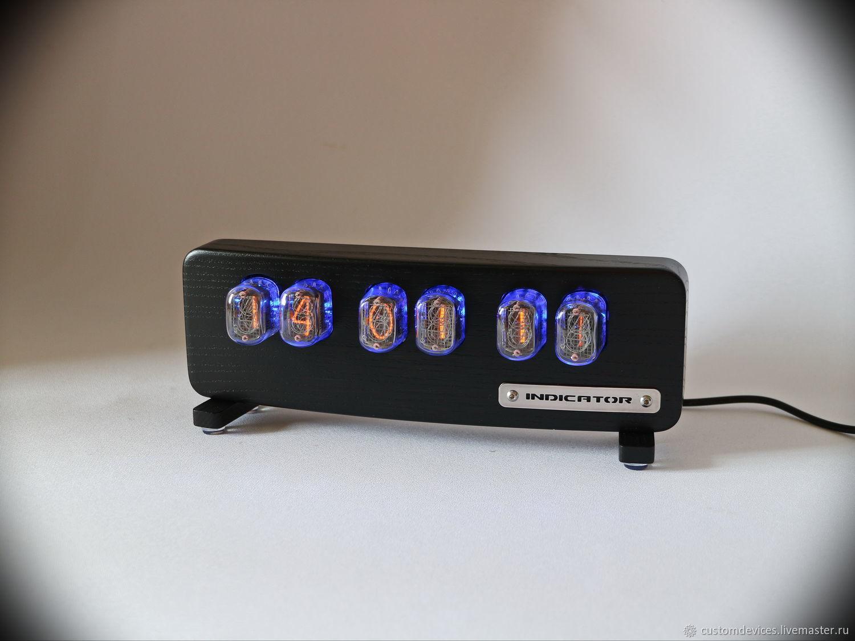 """Блокноты ручной работы. Ярмарка Мастеров - ручная работа. Купить Ламповые часы """"Indicator"""" (ясень, цвет черный). Handmade. Стимпанк"""