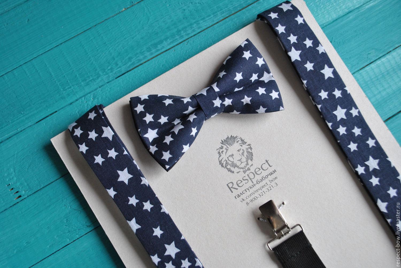 Dark blue tie with stars Suspenders dark blue Stars, Straps, Moscow,  Фото №1