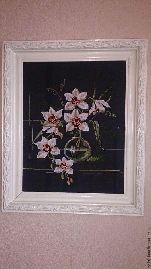 """Картины цветов ручной работы. Ярмарка Мастеров - ручная работа. Купить Картина вышивка """"орхидея"""". Handmade. Черный, картина для интерьера"""