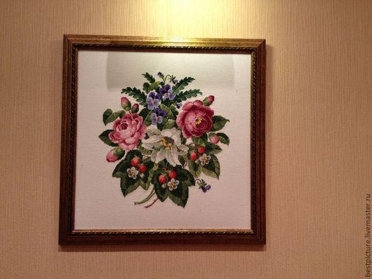 Картины цветов ручной работы. Ярмарка Мастеров - ручная работа. Купить Букет цветов. Handmade. Кремовый, вышивка, Вышитая картина