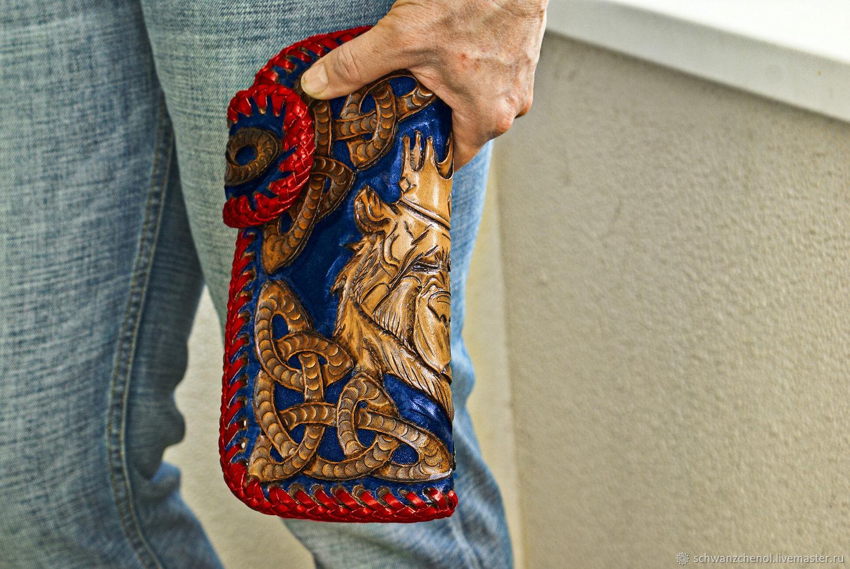 Кошельки и визитницы ручной работы. Ярмарка Мастеров - ручная работа. Купить Кошелек кожаный 'Король - медведь' - цветной. Handmade. Клатч