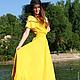 """Платья ручной работы. Ярмарка Мастеров - ручная работа. Купить Летнее платье """"Лучистое"""" хлопок, кружево. Handmade. Желтый"""