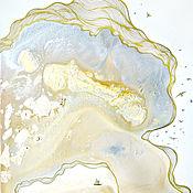Картины и панно handmade. Livemaster - original item Abstract painting Birth of the day, Golden mist series. Handmade.
