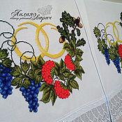"""Свадебный салон ручной работы. Ярмарка Мастеров - ручная работа Вышитый Свадебный рушник """"Под ноги"""" молодым (виноград,калина, дуб). Handmade."""