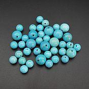 Материалы для творчества handmade. Livemaster - original item Turquoise natural beads ball 8 mm and 6 mm. Handmade.