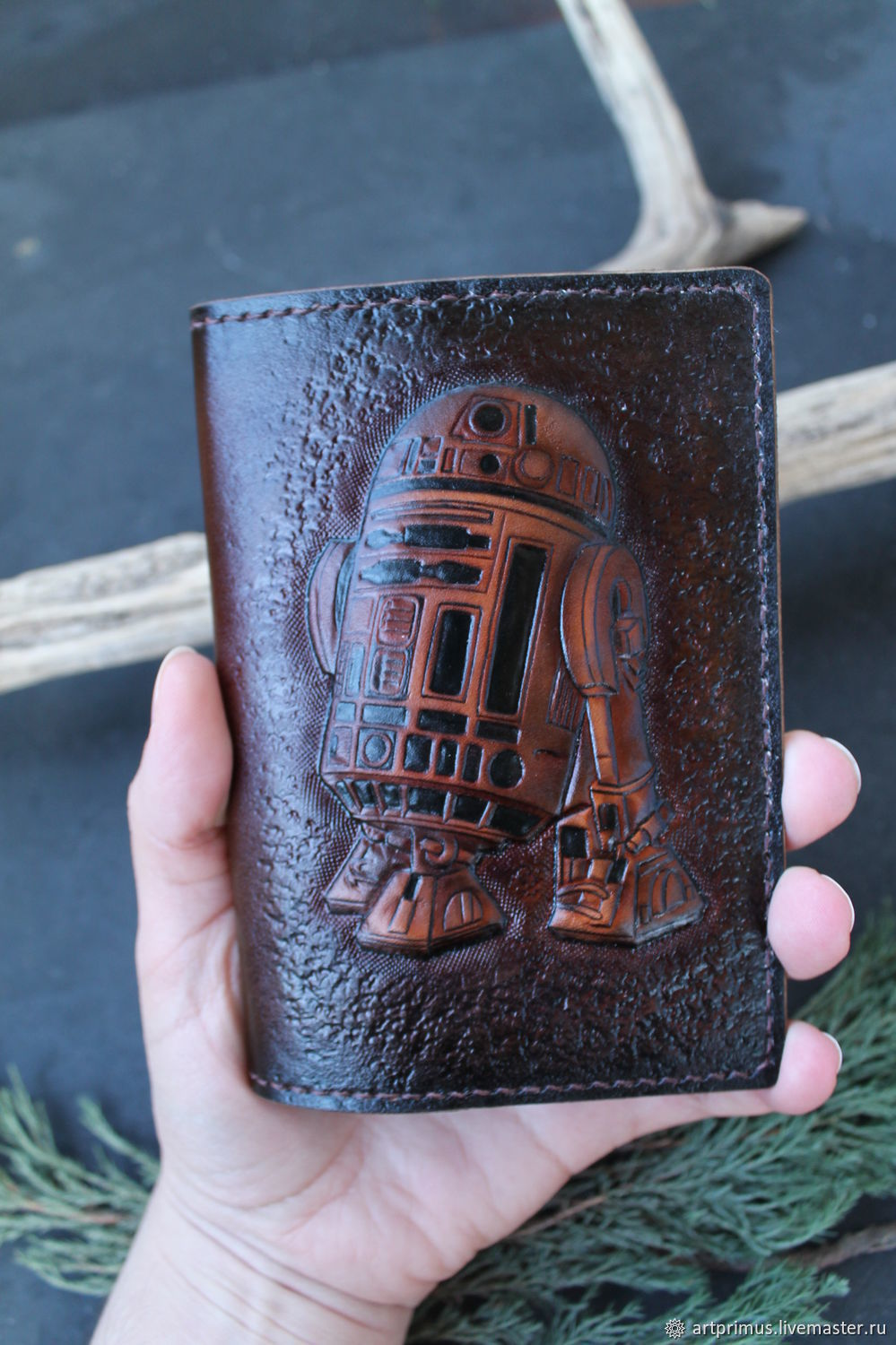 Leather passport cover 'R2-D2' embossed painting, Passport cover, Voronezh,  Фото №1