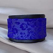 Украшения ручной работы. Ярмарка Мастеров - ручная работа Браслет «Синий иней» кожаный комбинированный. Handmade.