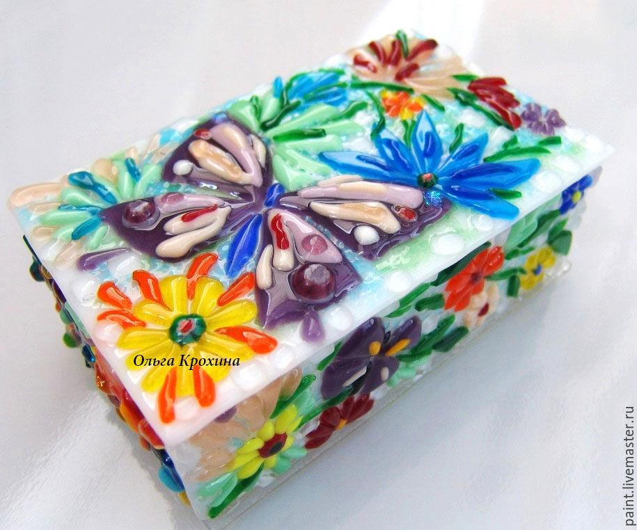 Шкатулки ручной работы. Ярмарка Мастеров - ручная работа. Купить Стеклянная шкатулка Лето цветы бабочки. Фьюзинг, стекло. Handmade.