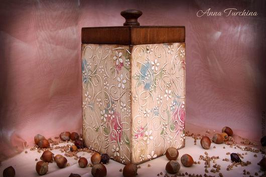 """Корзины, коробы ручной работы. Ярмарка Мастеров - ручная работа. Купить Короб """"Цветочный"""".. Handmade. Короб, короб для специй, дерево"""