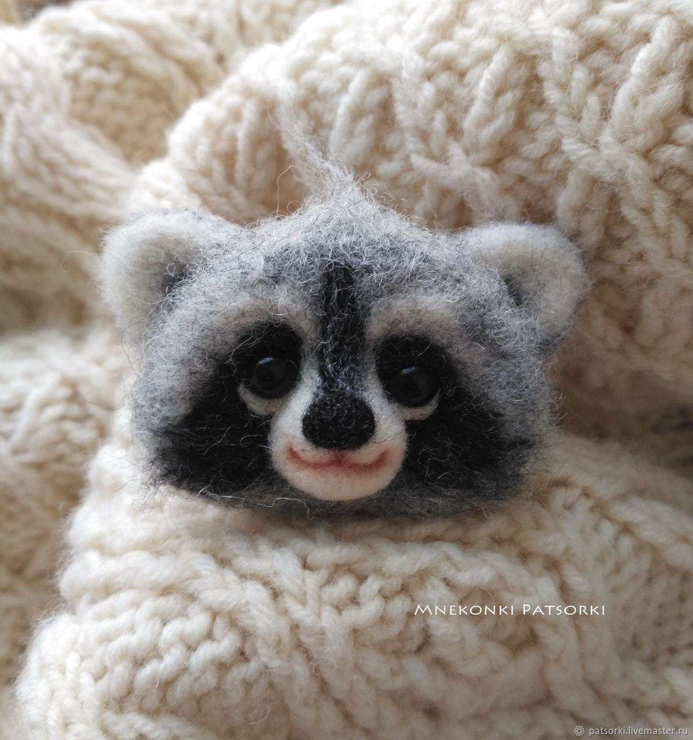 Brooch felted Raccoon, Brooches, Ivano-Frankivsk,  Фото №1