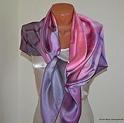"""Аксессуары ручной работы. Ярмарка Мастеров - ручная работа Платок фиолетовый шёлковый """"Твой стиль"""" шелк натуральный атлас. Handmade."""
